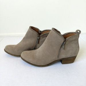 Lucky Brand bartalino tan ankle boots suede zipper
